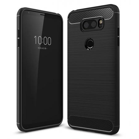 Carbon Fiber Brushed Texture Shockproof Soft TPU Case Cover For LG V30 - Black