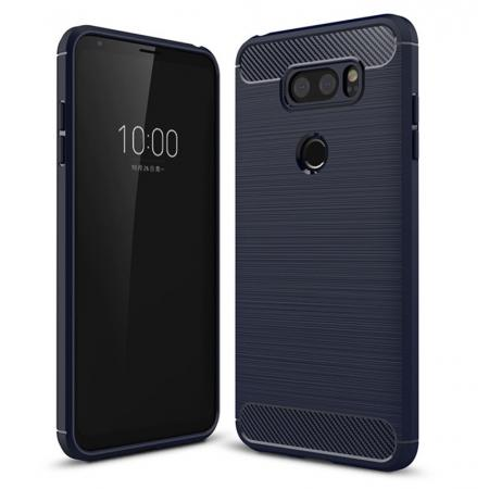 Carbon Fiber Brushed Texture Shockproof Soft TPU Case Cover For LG V30 - Navy Blue