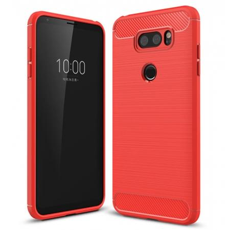 Carbon Fiber Brushed Texture Shockproof Soft TPU Case Cover For LG V30 - Red