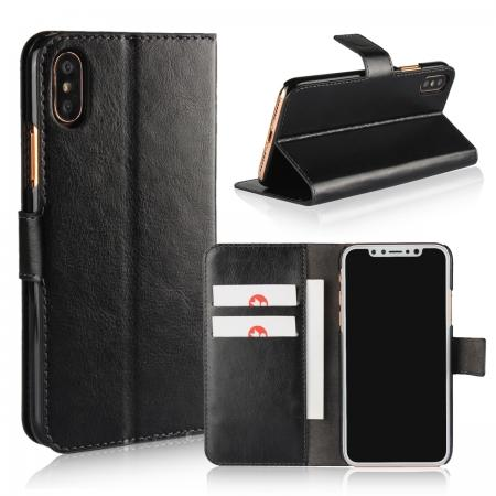 Crazy Horse Pattern PU Leather Wallet Holster Flip Case Phone Cover For iPhone X - Black