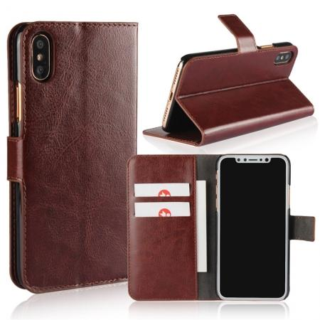 Crazy Horse Pattern PU Leather Wallet Holster Flip Case Phone Cover For iPhone X - Brown
