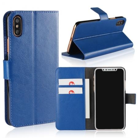 Crazy Horse Pattern PU Leather Wallet Holster Flip Case Phone Cover For iPhone X - Dark Blue