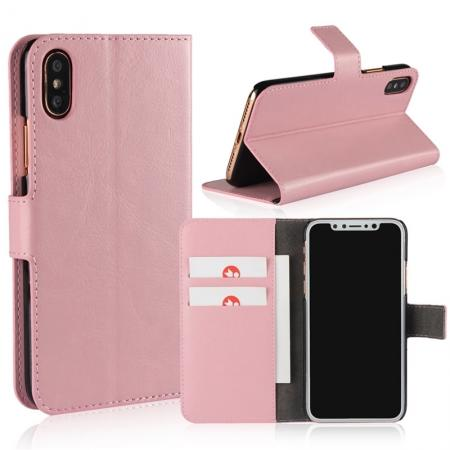 Crazy Horse Pattern PU Leather Wallet Holster Flip Case Phone Cover For iPhone X - Pink