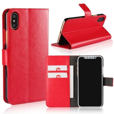 Crazy Horse Pattern PU Leather Wallet Holster Flip Case Phone Cover For iPhone X - Red