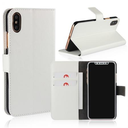 Crazy Horse Pattern PU Leather Wallet Holster Flip Case Phone Cover For iPhone X - White