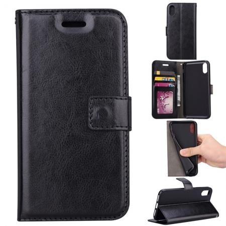 Crazy Horse PU Leather Case Flip Card Slot Wallet For iPhone X - Black