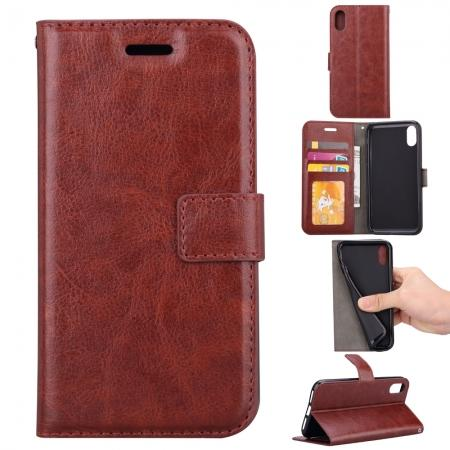 Crazy Horse PU Leather Case Flip Card Slot Wallet For iPhone X - Brown