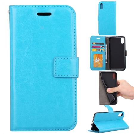 Crazy Horse PU Leather Case Flip Card Slot Wallet For iPhone X - Light Blue