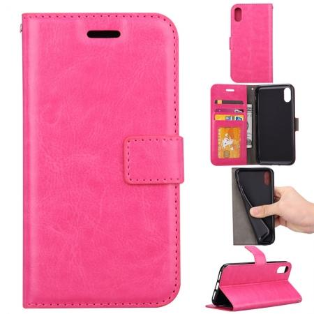 Crazy Horse PU Leather Case Flip Card Slot Wallet For iPhone X - Rose