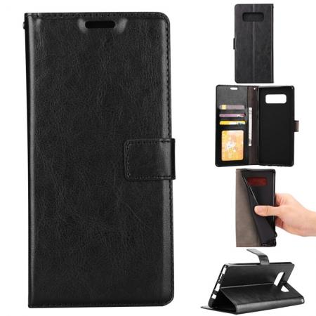 Crazy Horse PU Leather Case Flip Card Slot Wallet For Samsung Galaxy Note 8 - Black