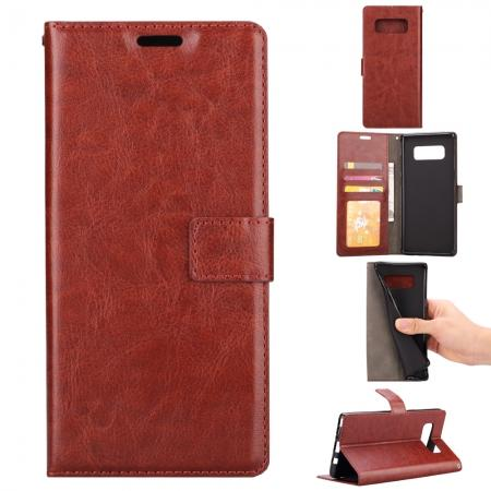 Crazy Horse PU Leather Case Flip Card Slot Wallet For Samsung Galaxy Note 8 - Brown