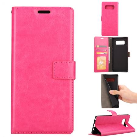 Crazy Horse PU Leather Case Flip Card Slot Wallet For Samsung Galaxy Note 8 - Hot Pink