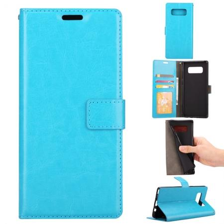 Crazy Horse PU Leather Case Flip Card Slot Wallet For Samsung Galaxy Note 8 - Light Blue