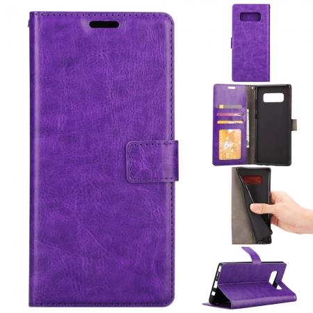 Crazy Horse PU Leather Case Flip Card Slot Wallet For Samsung Galaxy Note 8 - Purple