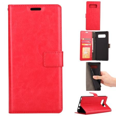 Crazy Horse PU Leather Case Flip Card Slot Wallet For Samsung Galaxy Note 8 - Red