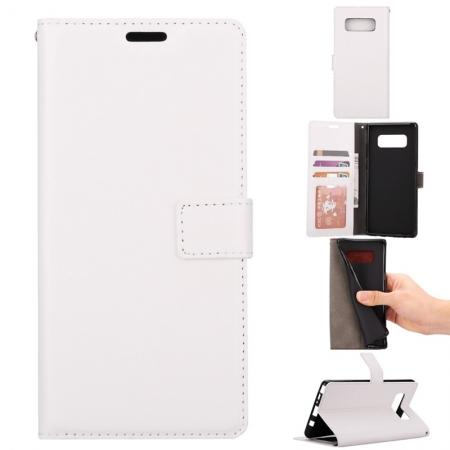 Crazy Horse PU Leather Case Flip Card Slot Wallet For Samsung Galaxy Note 8 - White