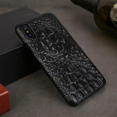 Crocodile Head Pattern Genuine Leather Back Case for iPhone 8 - Black