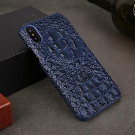 Crocodile Head Pattern Genuine Leather Back Case for iPhone X - Dark Blue