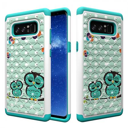 Crystal Bling Design Hybrid Armor Protective Case Cover For Samsung Galaxy Note 8 - Owl