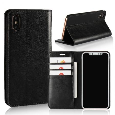 Genuine Leather Card Slots Crazy Horse Grain Case for iPhone X - Black