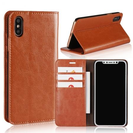 Genuine Leather Card Slots Crazy Horse Grain Case for iPhone 8 - Brown