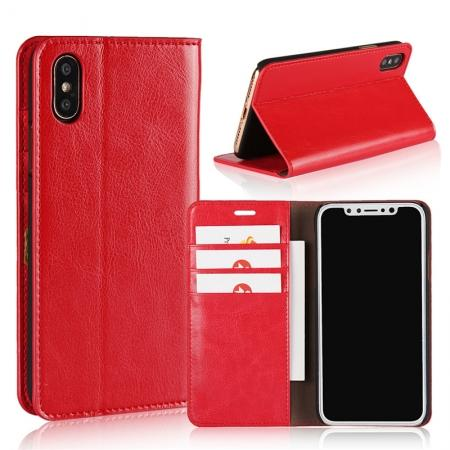 Genuine Leather Card Slots Crazy Horse Grain Case for iPhone X - Red