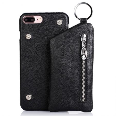 Genuine Leather Dual Zipper Wallet Holder Case Cover For iPhone 7 - Black