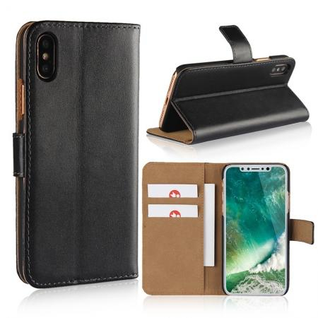 Genuine Leather Flip Wallet Case Cover Card Holder For iPhone X - Black