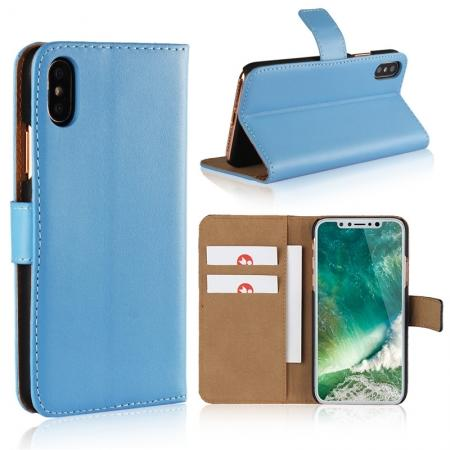 Genuine Leather Flip Wallet Case Cover Card Holder For iPhone X - Light Blue