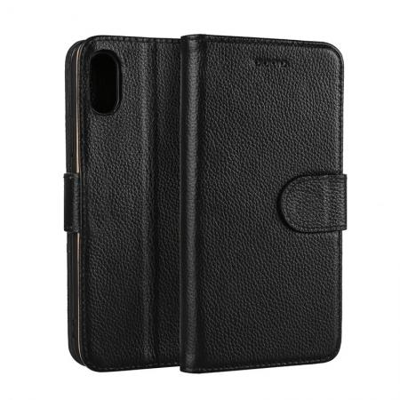 Genuine Leather Wallet Card Holder Flip Stand Case for iPhone X - Black