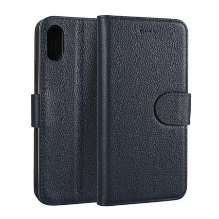 Genuine Leather Wallet Card Holder Flip Stand Case for iPhone 8 - Navy Blue