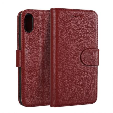 Genuine Leather Wallet Card Holder Flip Stand Case for iPhone X - Wine Red