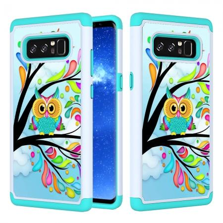 Hybrid Dual Layer Shockproof Defender Phone Case Cover For Samsung Galaxy Note 8 - Green Owl