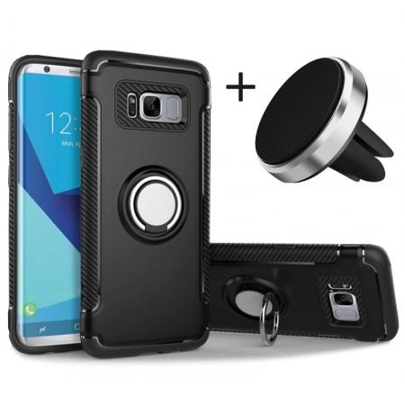 Hybrid Shockproof Protective Phone Case with Ring Stand for Samsung Galaxy S8 Plus - Black