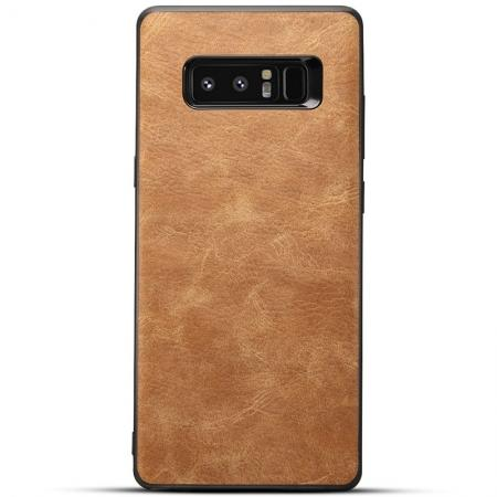 Leather Ultra Slim Hard Back Case Cover for Samsung Galaxy Note 8 - Brown