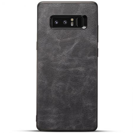 Leather Ultra Slim Hard Back Case Cover for Samsung Galaxy Note 8 - Dark Grey