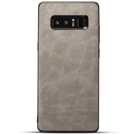 Leather Ultra Slim Hard Back Case Cover for Samsung Galaxy Note 8 - Light Grey