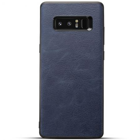 Leather Ultra Slim Hard Back Case Cover for Samsung Galaxy Note 8 - Navy Blue