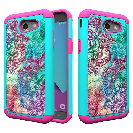 Luxury Diamond Bling Hybrid Armor Protective Case For Samsung Galaxy J3 Emerge / J3 2017 - Teal&Rose