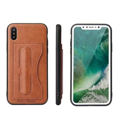 Luxury PU Leather Card Slot Back Case With Kickstand for iPhone X - Brown