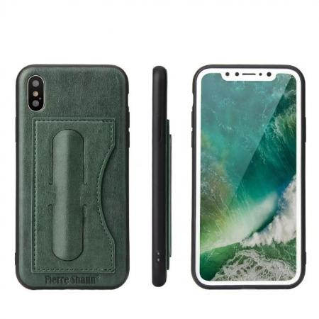 Luxury PU Leather Card Slot Back Case With Kickstand for iPhone X - Green