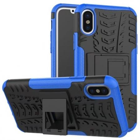 PC+TPU Shockproof Stand Hybrid Armor Rubber Cover Case For iPhone X - Blue