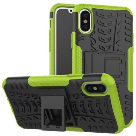 PC+TPU Shockproof Stand Hybrid Armor Rubber Cover Case For iPhone X - Green