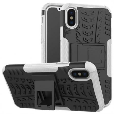PC+TPU Shockproof Stand Hybrid Armor Rubber Cover Case For iPhone X - White