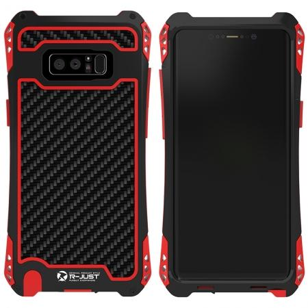 R-just Powerful Shockproof Dirt Proof Metal Aluminum Case for Samsung Galaxy Note 8 - Black&Red