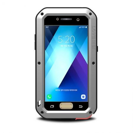 Shockproof Dustproof Waterproof Aluminum Tempered Glass Case for Samsung Galaxy A5 (2017) - Silver