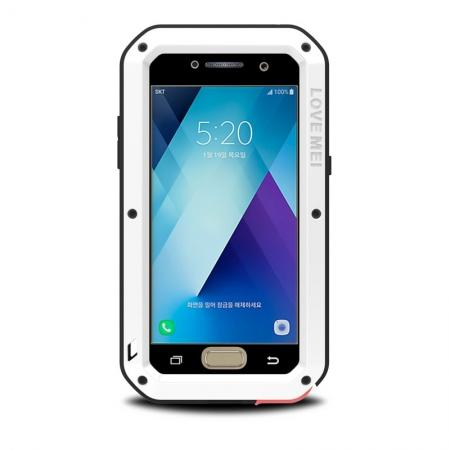 Shockproof Dustproof Waterproof Aluminum Tempered Glass Case for Samsung Galaxy A5 (2017) - White