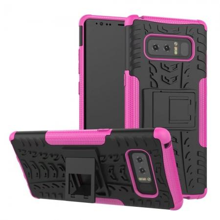 Shockproof TPU&PC Hybrid Stand Case Cover For Samsung Galaxy Note 8 - Hot Pink