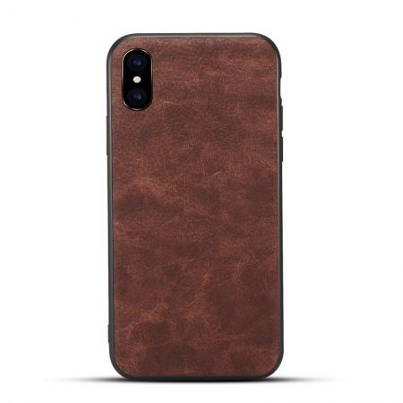 Slim Retro Leather Case Back Cover Skin For iPhone X - Coffee