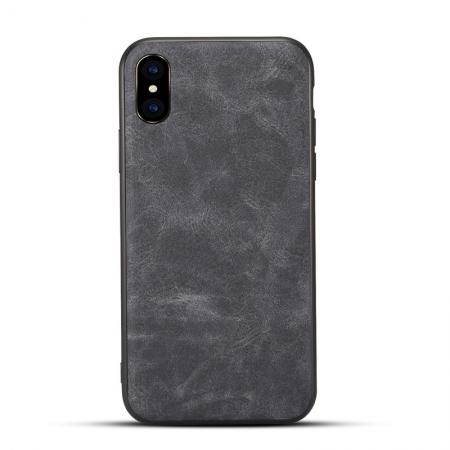 Slim Retro Leather Case Back Cover Skin For iPhone X - Dark Gray